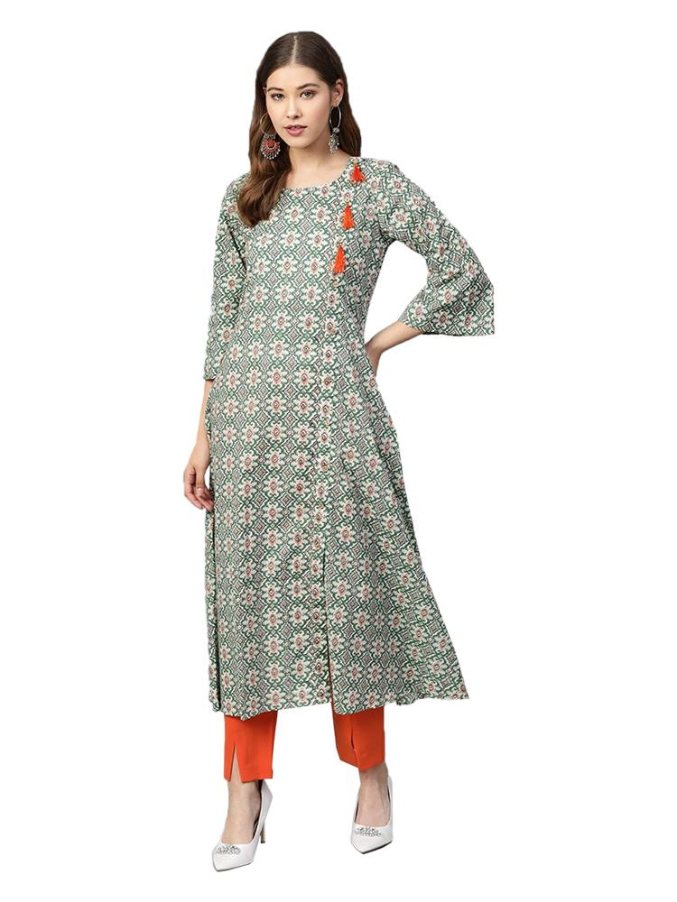 TRB Green Cotton Long Kurti With Tassels