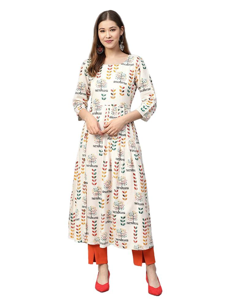 TRB Off white Cotton Long Kurti