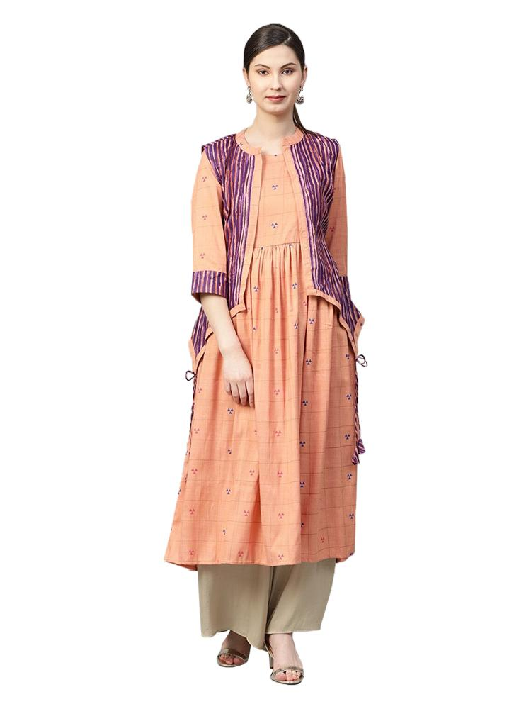 TRB Peach & Purple Kurti with jacket