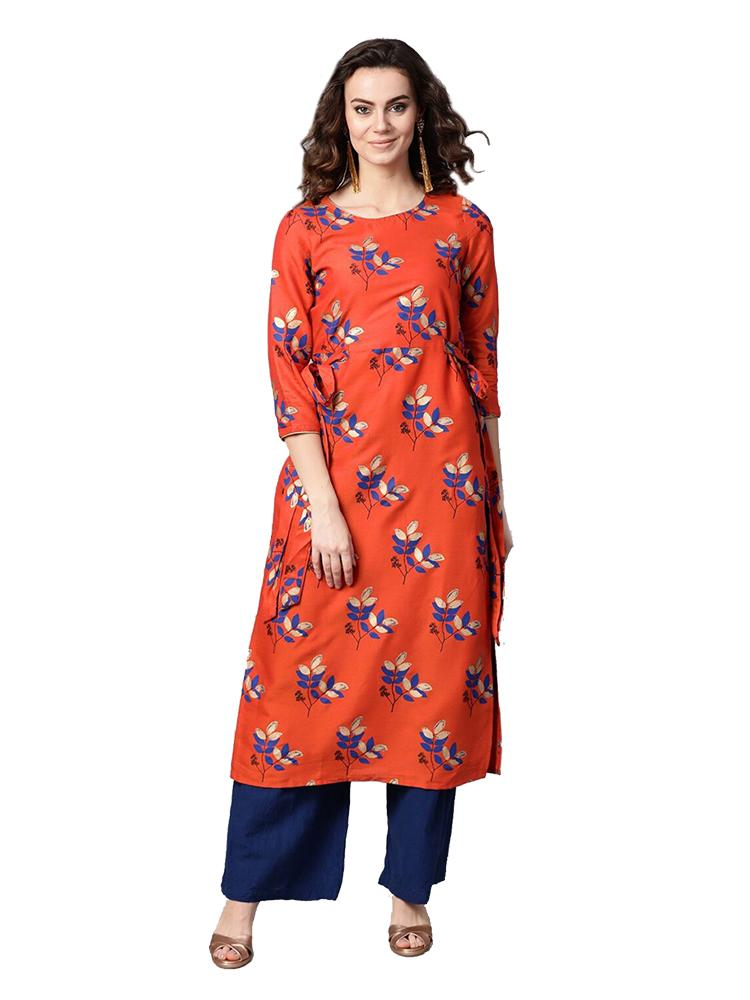 TRB Red Cotton Long Kurti