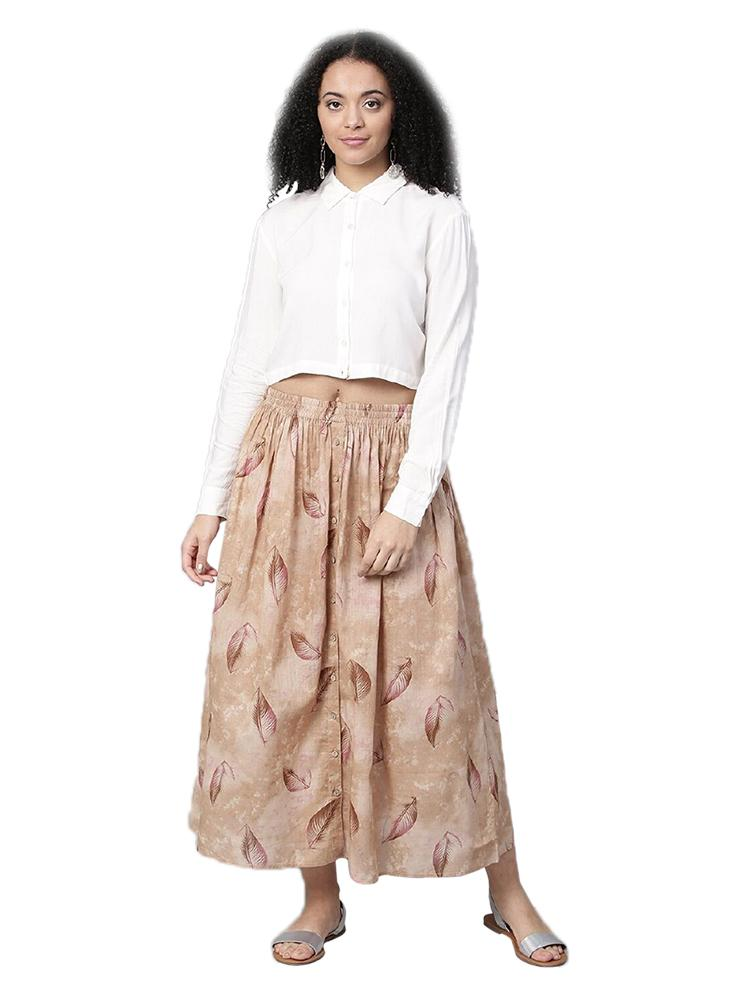 TRB White & Beige Crop Top & Skirt
