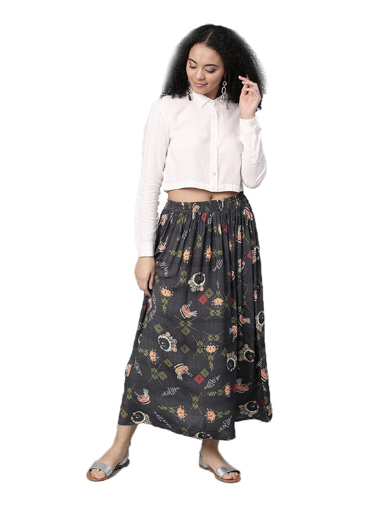 TRB White & Dark Grey Crop Top & Skirt