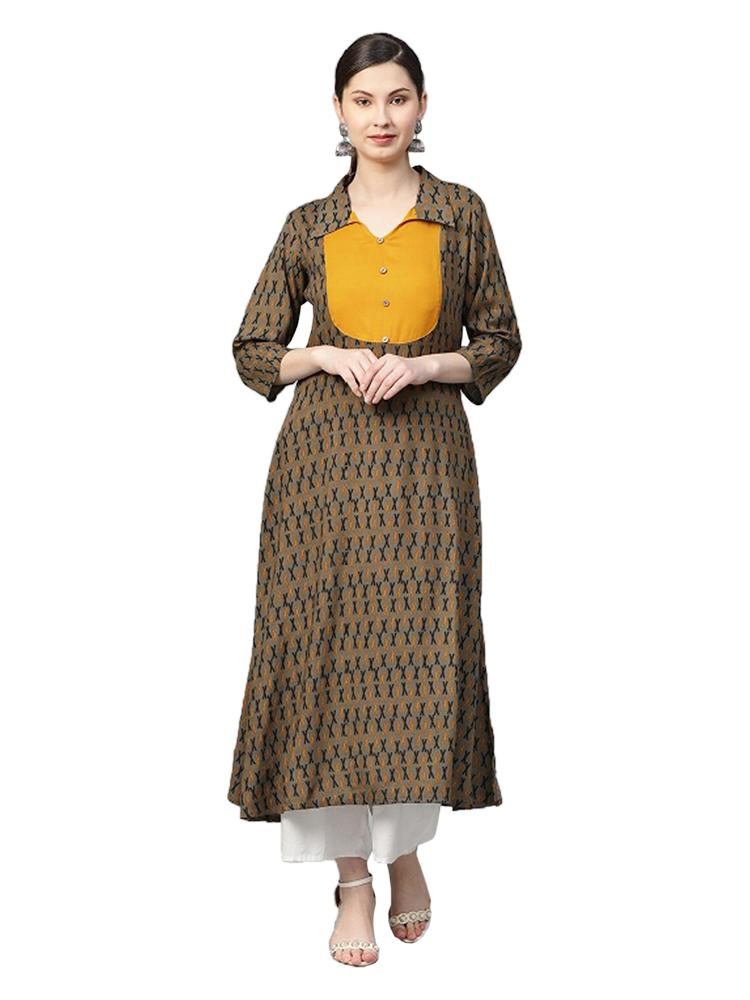 TRB Yellow & Brown Aline Kurti