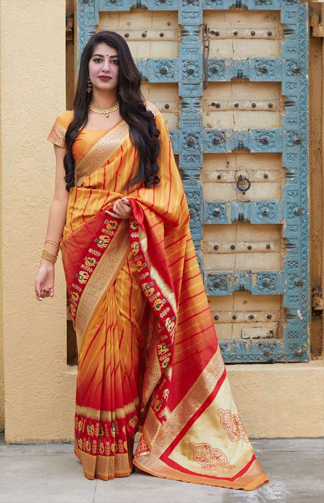 TRB Red & Yellow with Golden Border Silk Saree