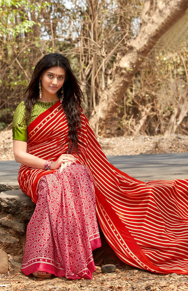TRB Red & Pink With Stripes Cotton Saree