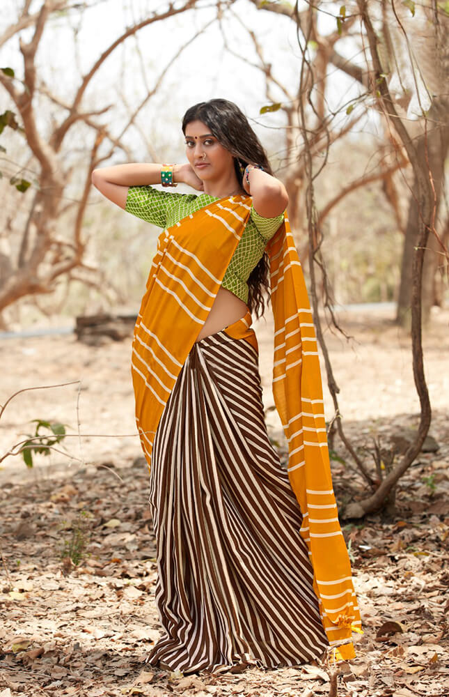 TRB Yellow & Brown With Stripes Cotton Saree