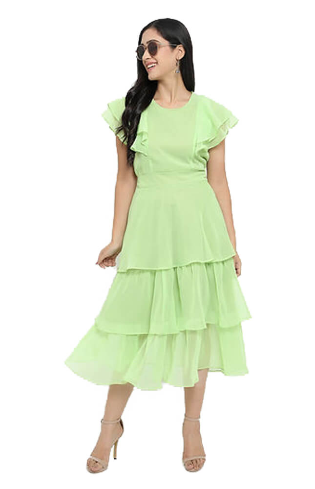 TRB Light Green Solid Georgette Dress_Cover