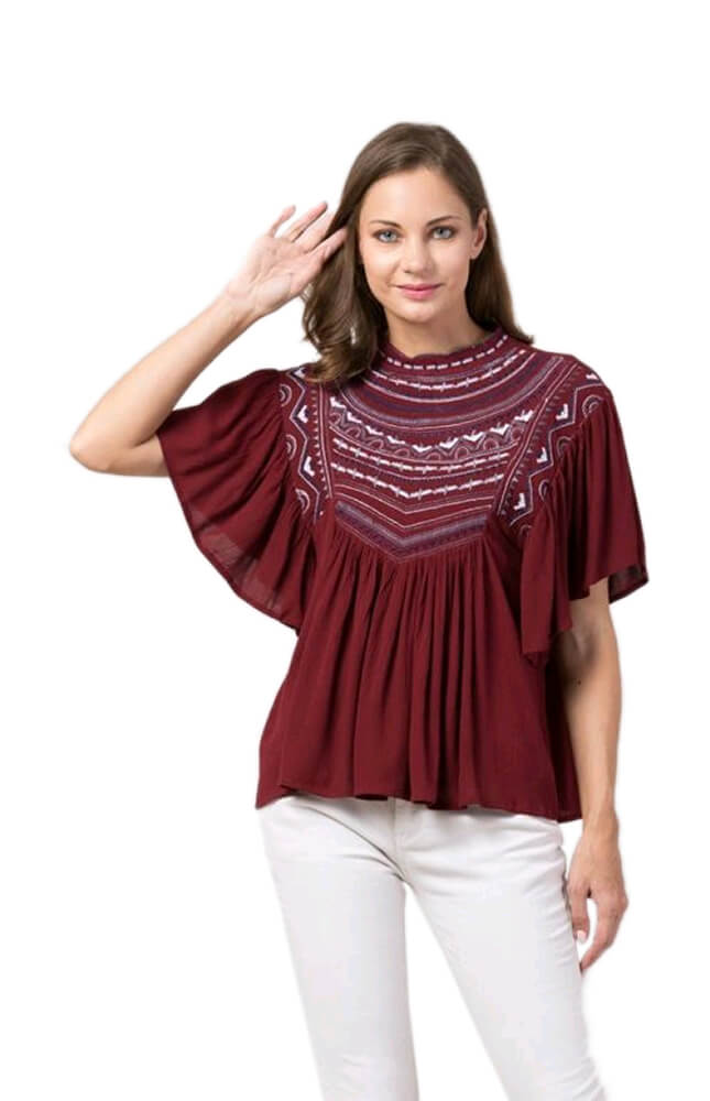TRB Maroon Printed Top
