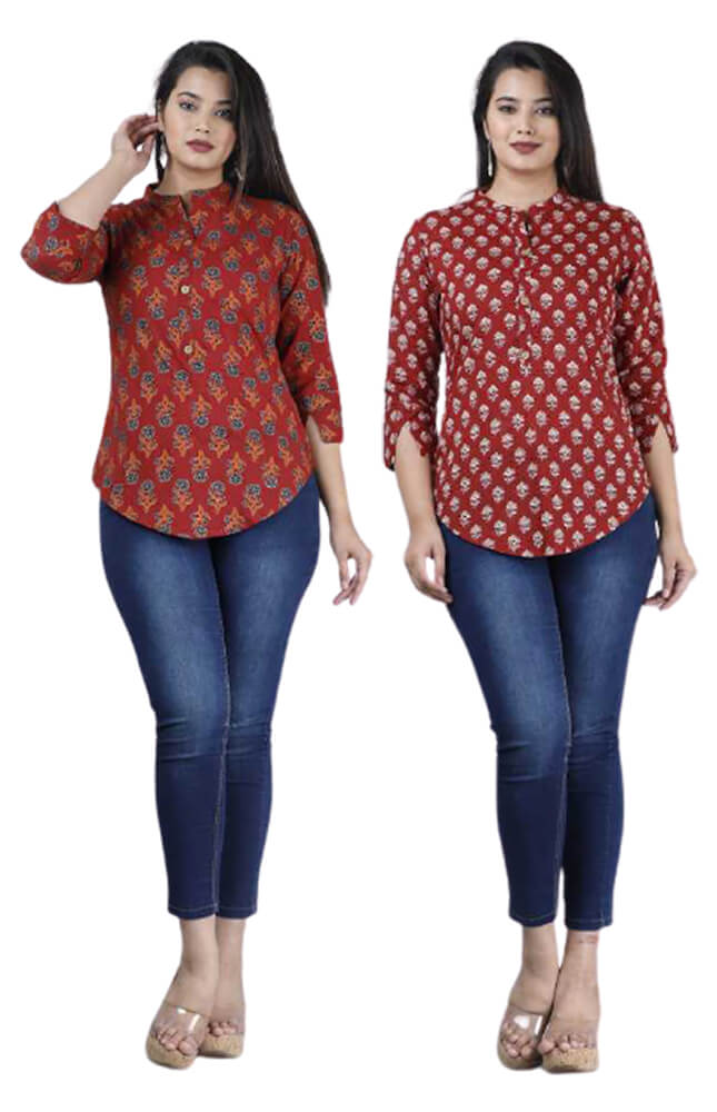 TRB Red and Maroon Printed Rayon Top_Cover