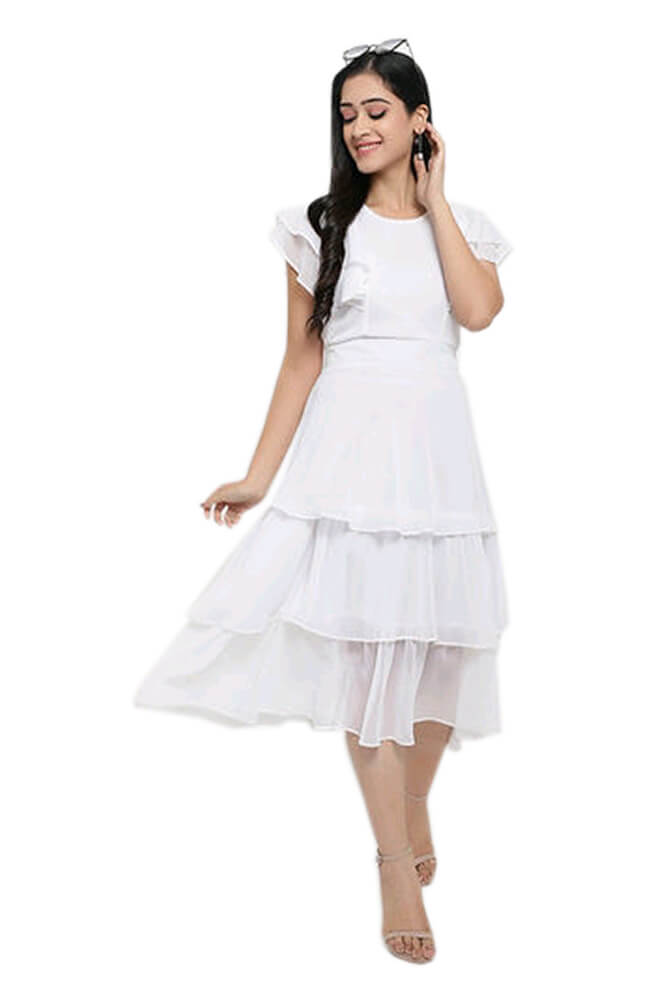 TRB White Solid Georgette Dress_Cover