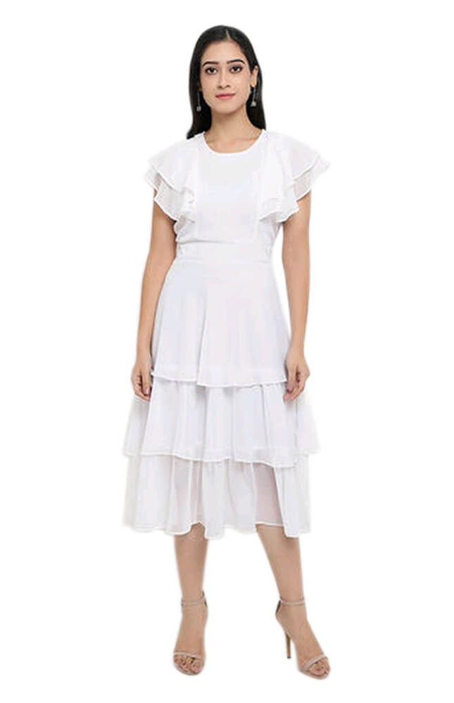 TRB White Solid Georgette Dress_Front