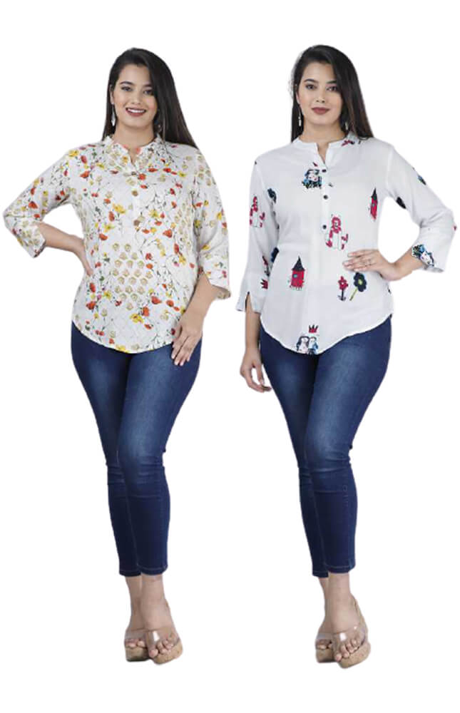TRB White and Multicolour Printed Rayon Top_Cover