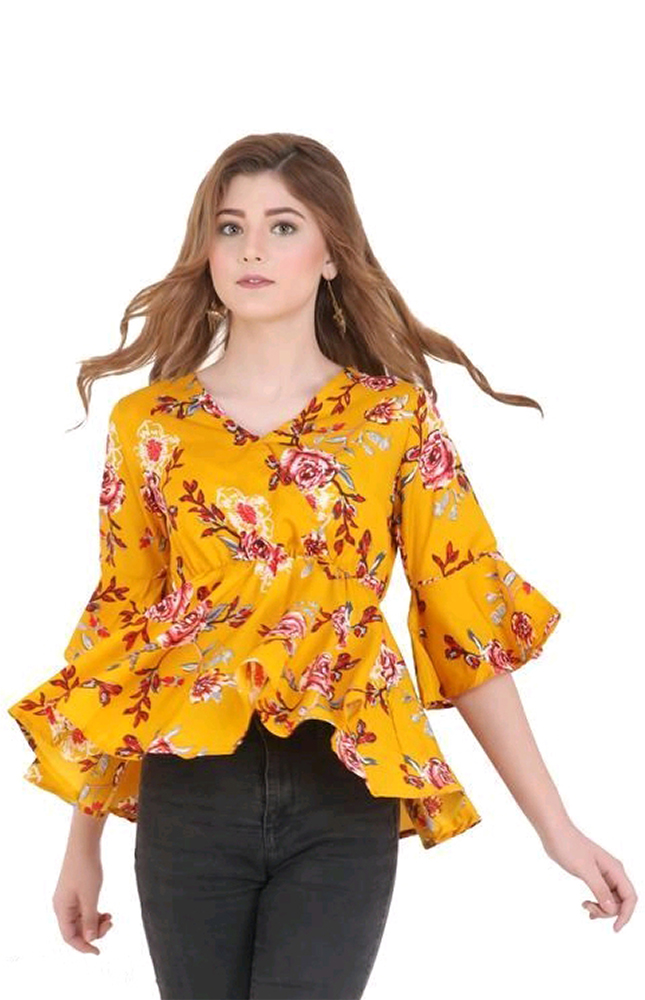TRB Yellow Floral Printed Top